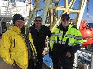 Left to right: Martech Polar Trainee Ice Navigator Nigel Greenwood, Canadian Coast Guard Captain Victor Gronmyr, CEO and Principal Consultant at Martech Polar Consulting Ltd David (Duke) Snider