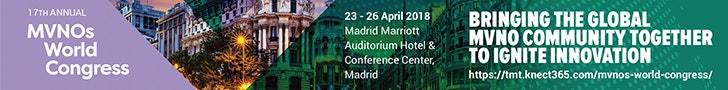 MVNOs World Congress 2018 web banner with a city view of Madrid