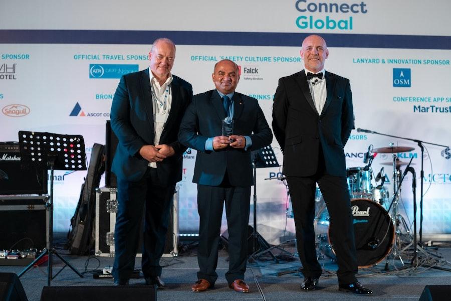 Prabhat Jha, MSC Shipmanagement, accepts Seafarer of the Year Award on behalf of Master Maksym Chernil from Capt Kuba Szymanski, Intermanager, & Mike Powell, Cardinal Point Maritime