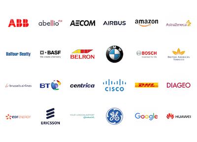 Delegates include: ABB, Abellio, ACOM, Airbus, Amazon, AstraZeneca, Balfour Beatty, BASF, Belron BMW, Bosch, British American Tobacco, Brussels Airlines, BT, Centrica, Cisco, DHL, Diageo, EDF Energy, Ericsson, Gatwick Airport, GE, Google, & Huawei