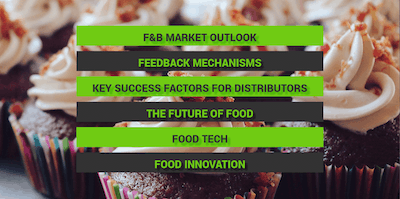 Key Themes: F&B Market Outlook, Feedback Mechanisms, Key Success Factors for Distributors, The Future of Food, Food Tech, Food Innovation