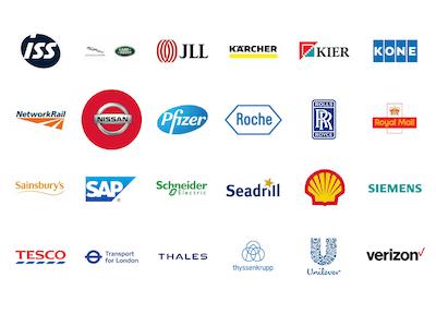 Companies you will meet include ISS, Jaguar Land Rover, JLL, Karcher, KIER, Kone, Network Rail, Nissan, Pfizer, Roche, Rolls Royce, Royal Mail, Sainsbury's SAP, Schneider, Seadrill, Shell, Siemens, Tesco, TfL, Thales, Thyssenkrupp, Unilever, Verizon, & Volvo