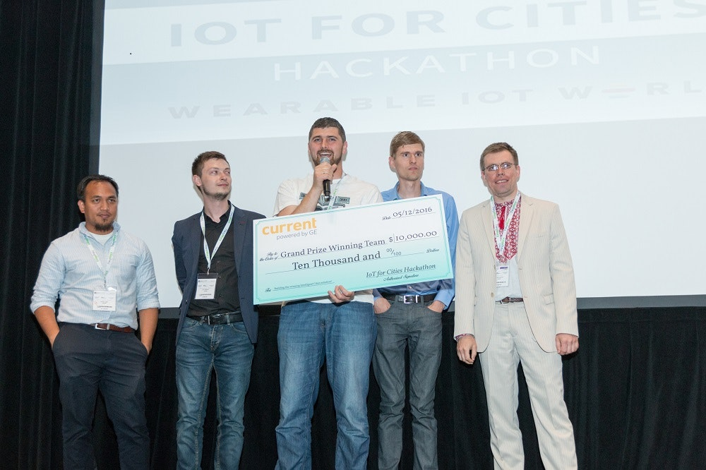 Winning team from the Hackathon receiving their award