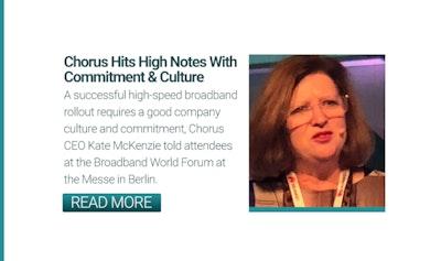 Kate McKenzie, CEO, Chorus talks installation at Broadband Word Forum