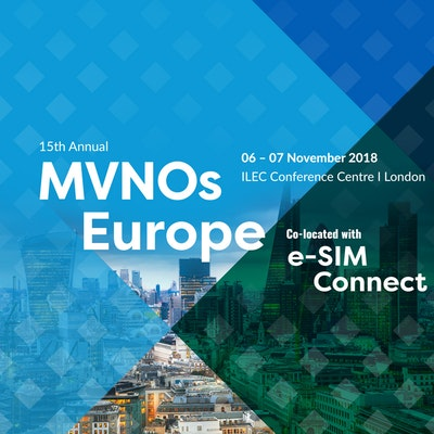 MVNOs Europe 2018 promotion banner, including the event's date and location: 06 - 07 November 2018 in London.