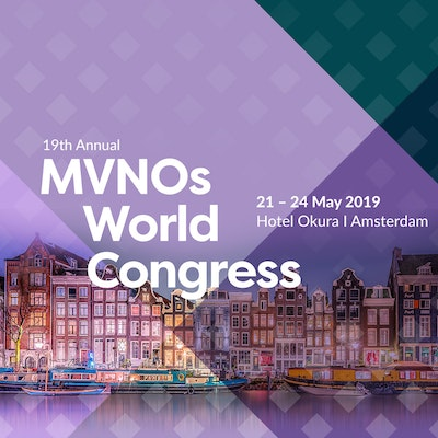 MVNOs World Congress 2019 promotion banner, including the event's date and location: 21 - 24 May 2019 in Amsterdam.