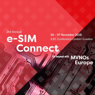 e-SIM Connect promotion banner, including the event's date and location: 06 - 07 November 2018 in London.