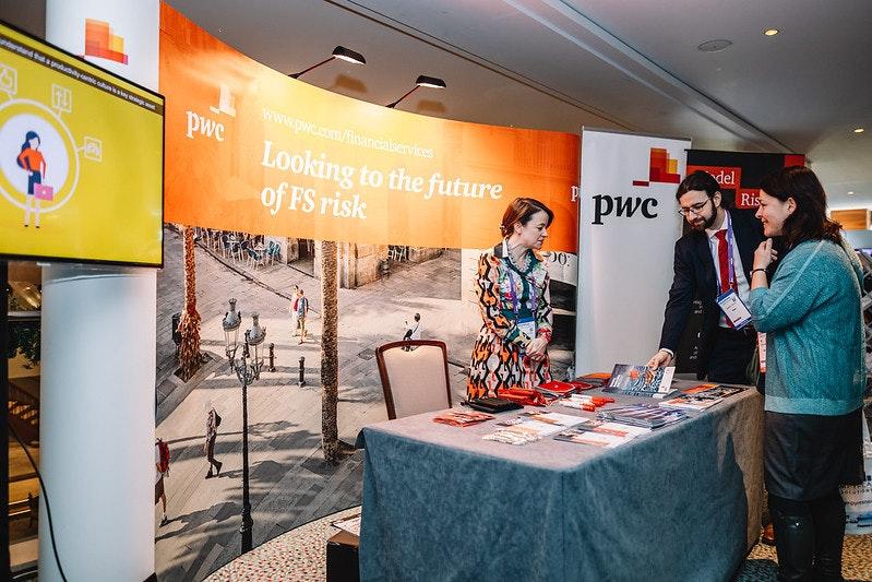 Sponsors meeting clients at RiskMinds International